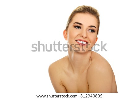 Young naked beautiful woman,isolated on white.  - stock photo