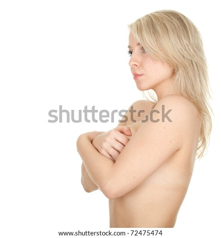 young, naked, blond hair woman covering breasts