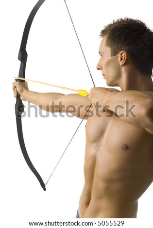 Young, naked man holding bow and shooting to target. Side view, white background - stock photo