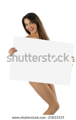 young naked woman with a great smile  with a display in front of her body - stock photo
