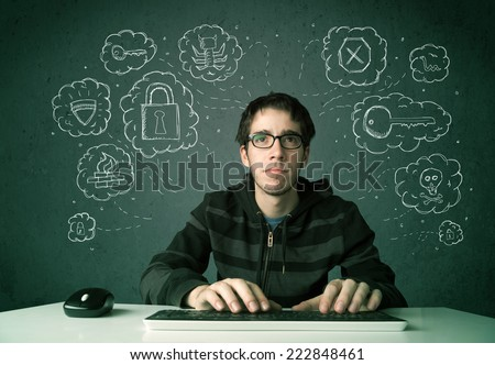 Young nerd hacker with virus and hacking thoughts on green background - stock photo