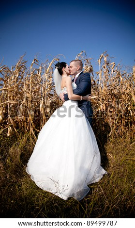Young newly married couple kissing in field - stock photo