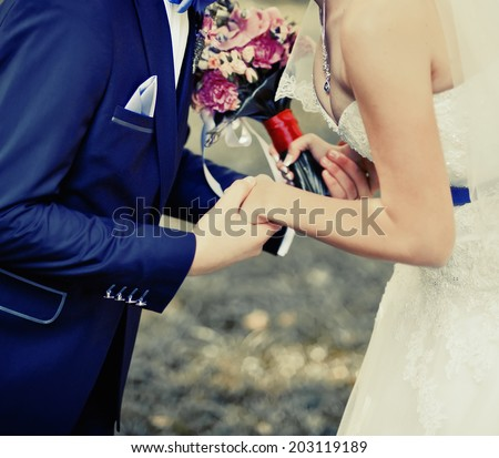 Young newlywed young caucasian couple together. Vintage picture. - stock photo