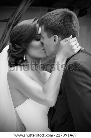 Young newlyweds kissing and summer day (monochrome)