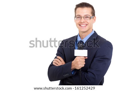 young news reporter in live broadcasting on white background - stock photo