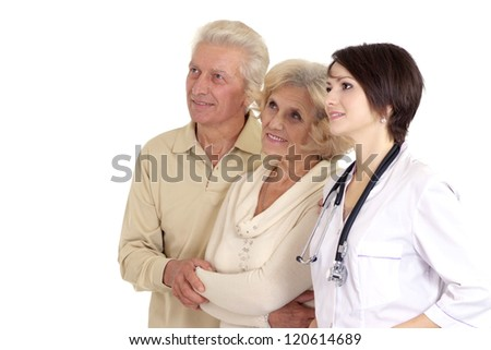 young nice nurse with elderly on a light background