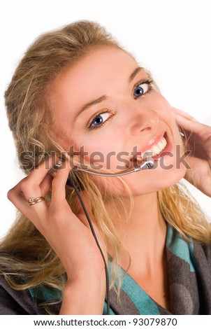 young nice woman on a white background - stock photo
