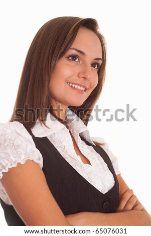 young nice woman standing on a white background
