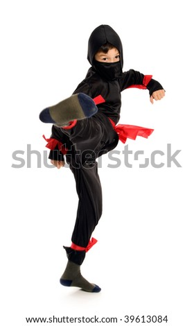 Young Ninja on pure white background - stock photo