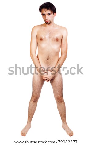 Young nude handsome man isolated on white background - stock photo