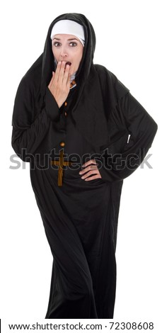 Young Nun in shock with hand on mouth - stock photo