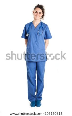 Young nurse full length portrait - stock photo