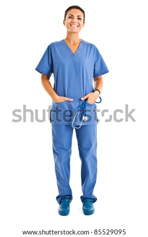Young nurse full length portrait - stock photo