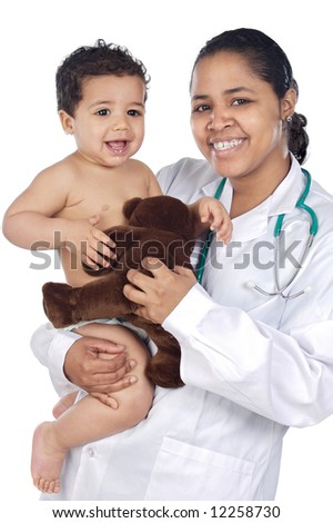 Young nurse holding  baby over white background - stock photo