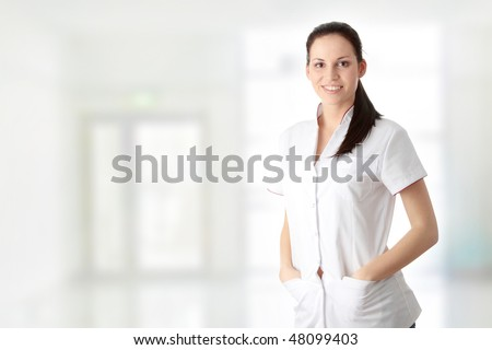 Young nurse or female doctor - stock photo