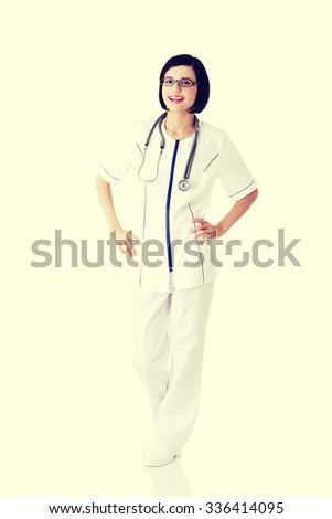 Young nurse or female doctor or nurse. - stock photo