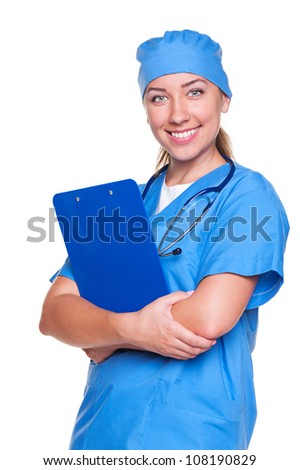 young nurse smiling and looking at camera. isolated on white background - stock photo