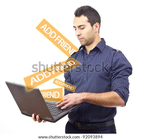 Young obsessed man adding friends on social network.White background - stock photo
