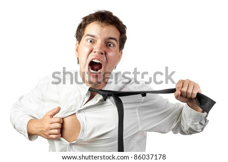 young office worker mad by stress screaming and tears off his shirt and tie isolated on white background - stock photo