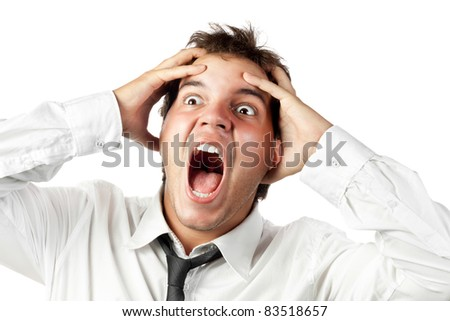 young office worker mad by stress screaming isolated on white - stock photo