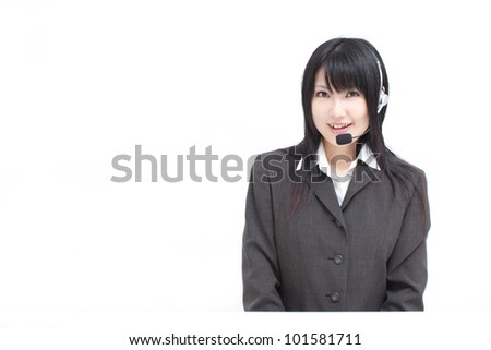 young operator woman isolated on white background - stock photo