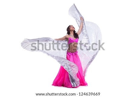 Young oriental in pink costume with wings - stock photo