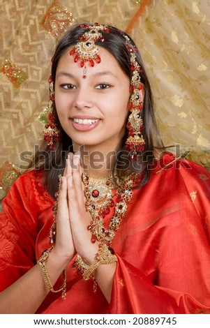 Young oriental lady wearing a gorgeous indian saree - stock photo