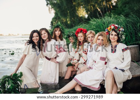 Young pagan Slavic girls. Summer. - stock photo