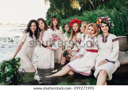 Young pagan Slavic girls. Summer. - stock photo
