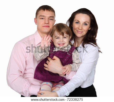 young parents with a little daughter against white background