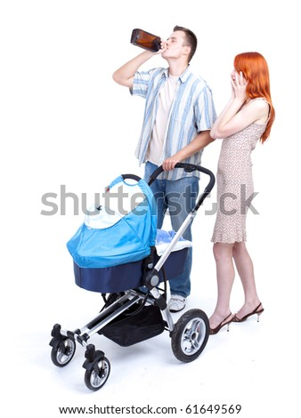 young parents with baby  buggy, father drinking alcohol - stock photo