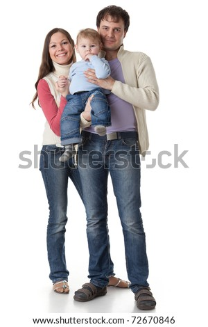Young parents with their  sweet  baby on a white background. Happy family. - stock photo