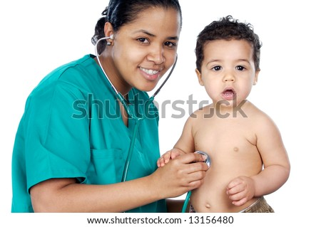 Young pediatrician with baby a over white background - stock photo