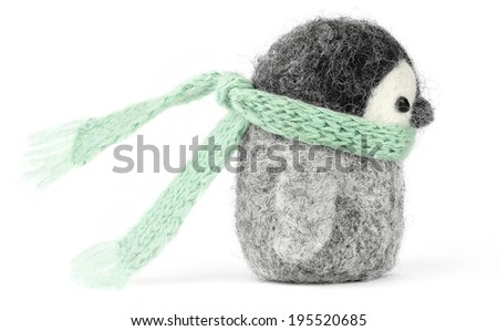 young penguin  isolated on the white background, handmade - stock photo