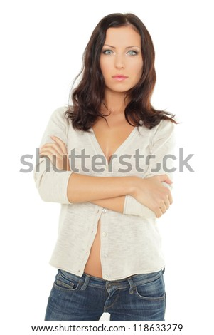 Young pensive woman isolated - stock photo