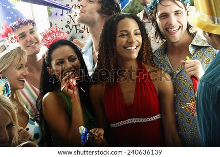 Young People at New Year Party - stock photo