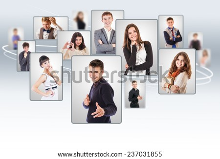 Young people collage portraits - stock photo