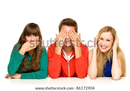 Young people covering their mouths eyes and ears - stock photo
