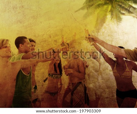 Young People Enjoying a Summer Beach Party - stock photo