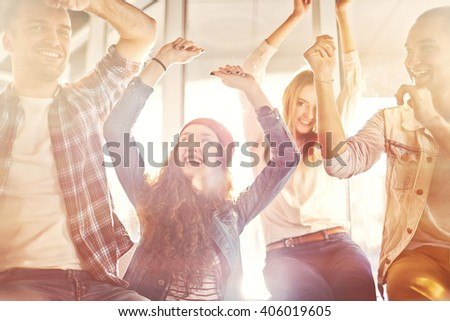 Young people having fun and laughing - stock photo