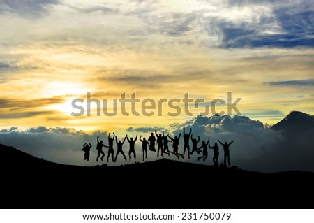 Young people having fun in the mountain - stock photo