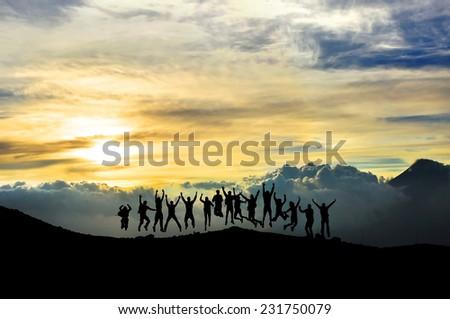Young people having fun in the mountain - stock photo