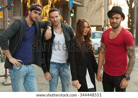 Young people having fun outdoors - stock photo