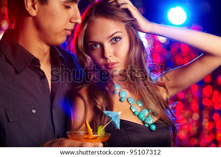 Young people having good time at a birthday party - stock photo