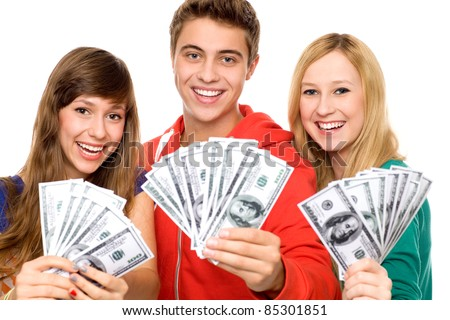 Young people holding money - stock photo