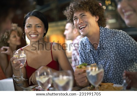 Young People in a Restaurant - stock photo