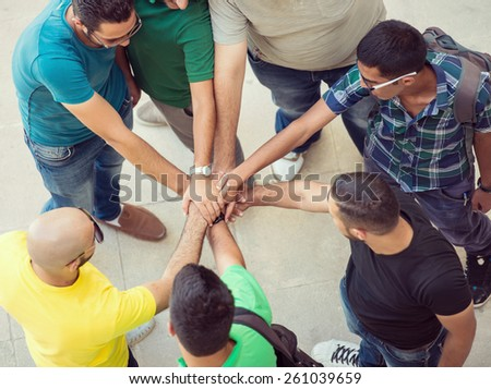 Young people in circle - stock photo