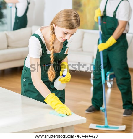 Young people in cleaning company working in spacious living room