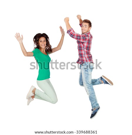 Young people jumping isolated on a white background - stock photo