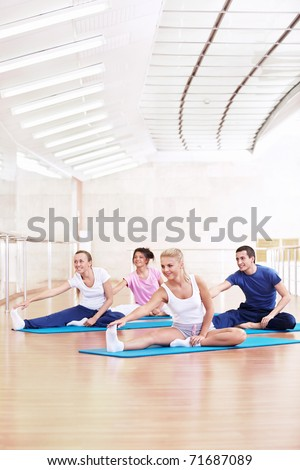 Young people make a banner in the Gym - stock photo